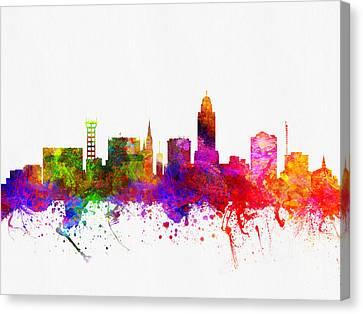 Lincoln Nebraska Skyline Color02 Canvas Print by Aged Pixel