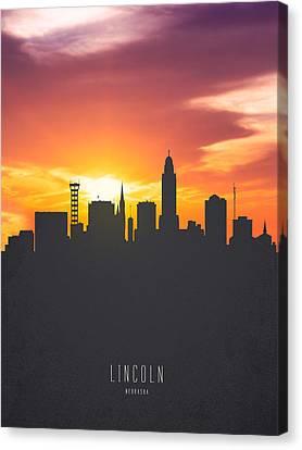 Lincoln Nebraska Sunset Skyline 01 Canvas Print by Aged Pixel