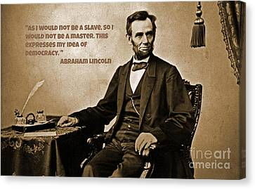Lincoln On Slavery Canvas Print by John Malone