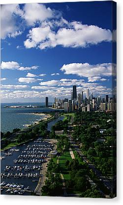 Lincoln Park And Diversey Harbor Canvas Print by Panoramic Images