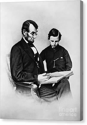 Lincoln Reading To His Son Canvas Print
