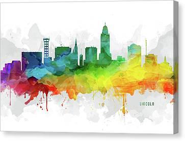 Lincoln Skyline Mmr-usneli05 Canvas Print by Aged Pixel