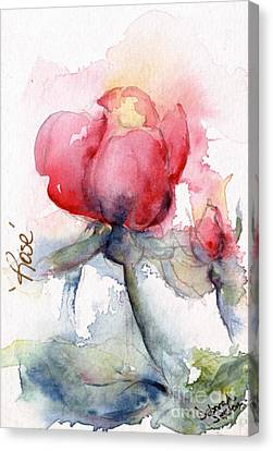 Linda's Rose Watercolor Canvas Print by CheyAnne Sexton