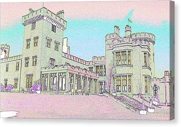 Line Art Of Dromoland Castle Canvas Print by Carl Purcell