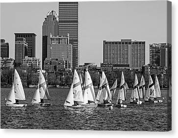 Line Of Boats On The Charles River Boston Ma Black And White Canvas Print by Toby McGuire