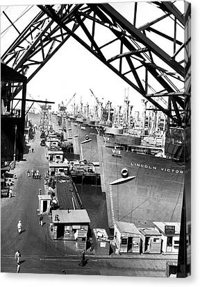 Line Of Victory Ships Canvas Print by California Shipbuilding Corporat