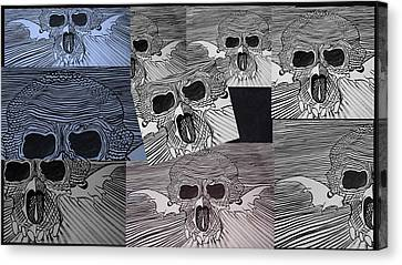 Canvas Print - Line Skulls Collage by Joan Stratton