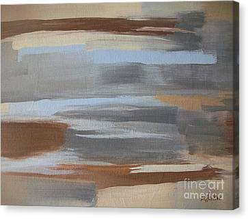 Linear Browns And Blues Canvas Print by Marsha Heiken