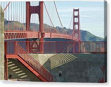 Canvas Print featuring the photograph Linear Golden Gate Bridge by Steve Siri