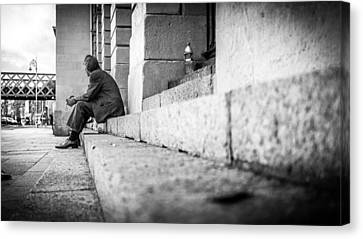 Lines - Dublin, Ireland - Black And White Street Photography Canvas Print by Giuseppe Milo