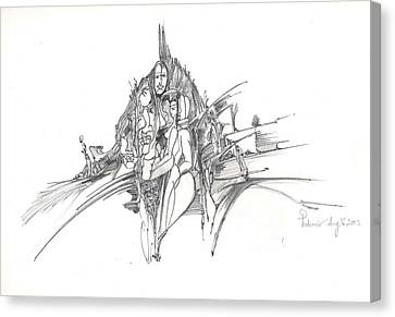 Canvas Print featuring the drawing Lines Of Integration by Padamvir Singh