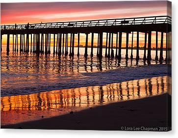 Sunset Seacliff Shadows Canvas Print by Lora Lee Chapman