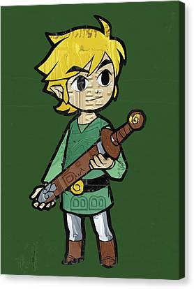 Link Legend Of Zelda Nintendo Retro Video Game Character Recycled Vintage License Plate Art Portrait Canvas Print by Design Turnpike
