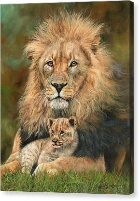 Lions Canvas Print - Lion And Cub by David Stribbling