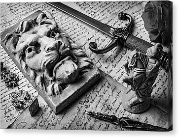 Lion And Dagger In Black And White Canvas Print by Garry Gay