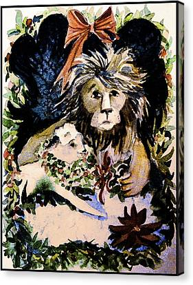 Parable Canvas Print - Lion And The Lamb by Mindy Newman