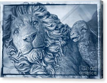 Lion And The Lamb - Monochrome Blue Canvas Print