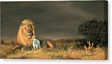 Lion And The Lamb Canvas Print