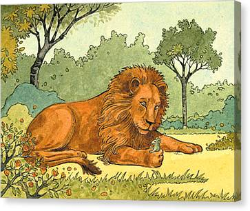 Lion And The Mouse Canvas Print by Valer Ian