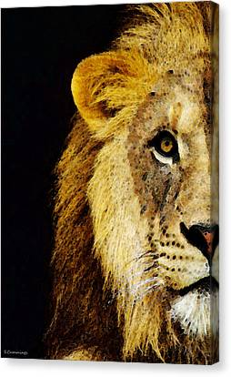 Lion Art - Face Off Canvas Print