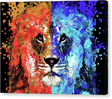 African Violets Canvas Print - Lion Art - Majesty - Sharon Cummings by Sharon Cummings