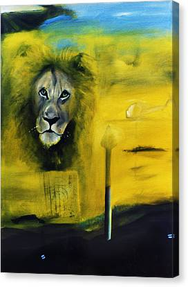 Lion At The Council Canvas Print by Noga Ami-rav