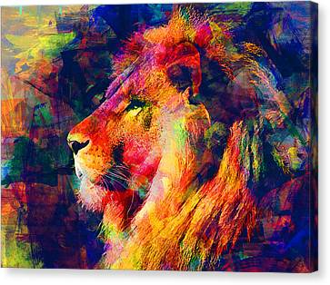 Lion Canvas Print by Elena Kosvincheva