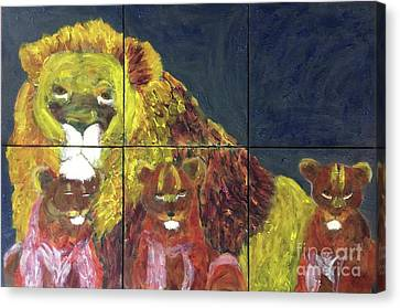 Canvas Print featuring the painting Lion Family by Donald J Ryker III