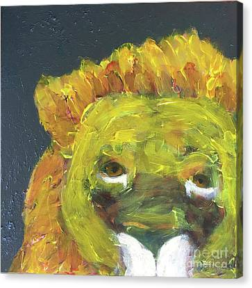 Canvas Print featuring the painting Lion Family Part 1 by Donald J Ryker III