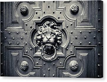Lion Head Door Knocker Canvas Print by Adam Romanowicz