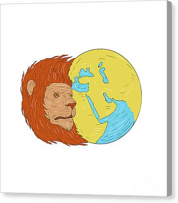 Lines Of The Hands Canvas Print - Lion Head Middle East Asia Map Globe Drawing by Aloysius Patrimonio