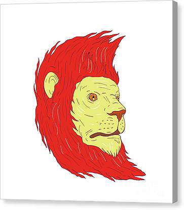 Lines Of The Hands Canvas Print - Lion Head With Flowing Mane Drawing by Aloysius Patrimonio