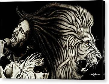 Lion Heart -bob Marley Canvas Print by Dan Menta