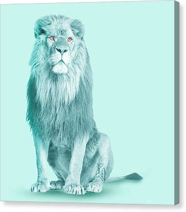 Mystical Landscape Canvas Print - Lion In Blue  by Mark Ashkenazi