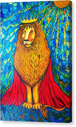 Canvas Print featuring the painting Lion-king by Rae Chichilnitsky