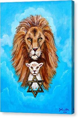 Canvas Print featuring the painting Lion Lies Down With A Lamb by Bob and Nadine Johnston
