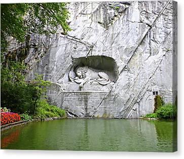 Lion Of Lucerne Canvas Print by Joseph Hendrix