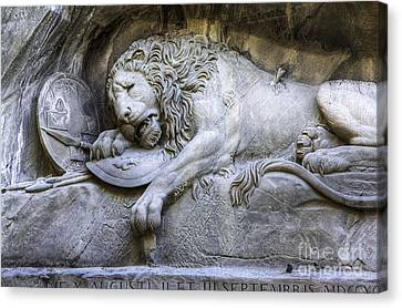 Lion Of Lucerne Switzerland Canvas Print by Anik Messier