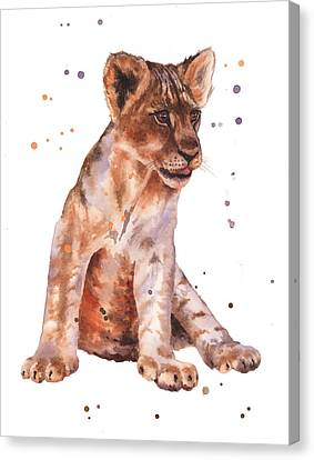 Lions Canvas Print - Lion Painting by Alison Fennell