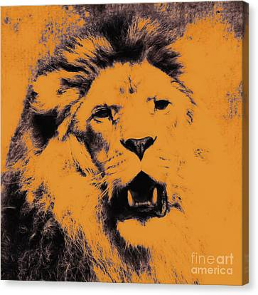 Lion Pop Art Canvas Print by Angela Doelling AD DESIGN Photo and PhotoArt