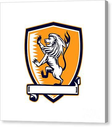 Lion Prancing Crest Woodcut Canvas Print