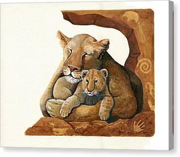 Lion - Protect Our Children Painting Canvas Print