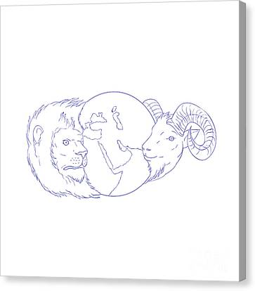 Lines Of The Hands Canvas Print - Lion Ram Globe Middle East Drawing by Aloysius Patrimonio