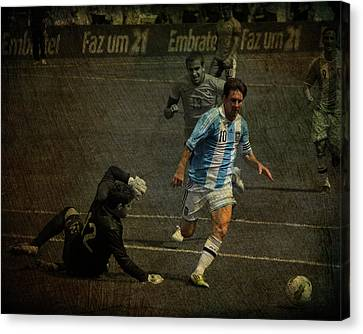 Clash Of Worlds Canvas Print - Lionel Messi Breaking Raphael Cabrals Ankles  by Lee Dos Santos