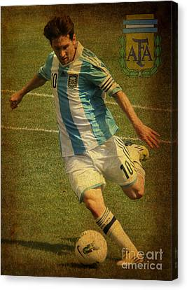 Clash Of Worlds Canvas Print - Lionel Messi Kicking Iv by Lee Dos Santos