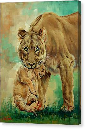 Lioness And Cub Canvas Print by Margaret Stockdale