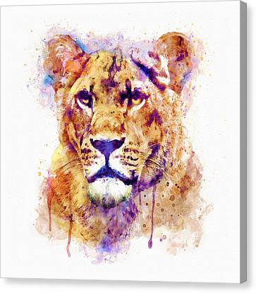 Lions Canvas Print - Lioness Head by Marian Voicu