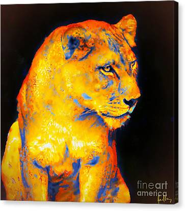 Lioness On Black Canvas Print by Janal Koenig
