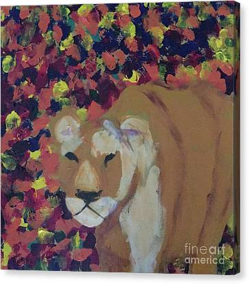 Canvas Print featuring the painting Lioness Pride 1 Of 6 by Donald J Ryker III