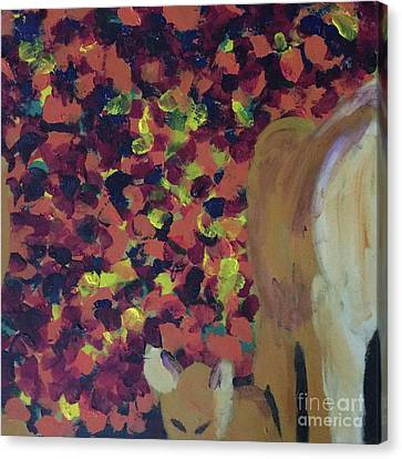 Canvas Print featuring the painting Lioness' Pride 2 Of 6 by Donald J Ryker III
